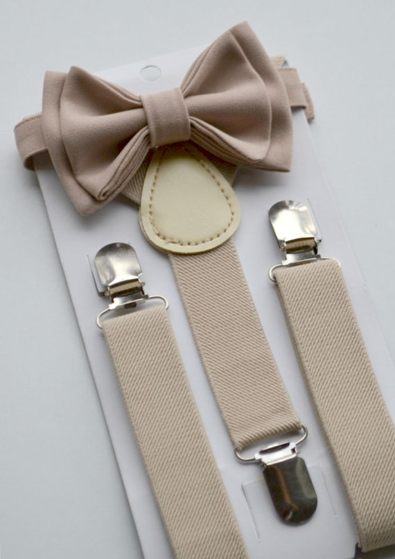 Thanksgiving Outfit -- Beige / Tan Suspenders -- Beige / Tan Bow Tie -- Suspenders Bow Tie -- Ring Bearer Outfit. SHIPS FAST!**