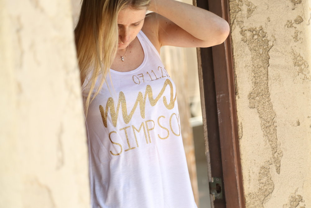 future mrs gold lettered tank