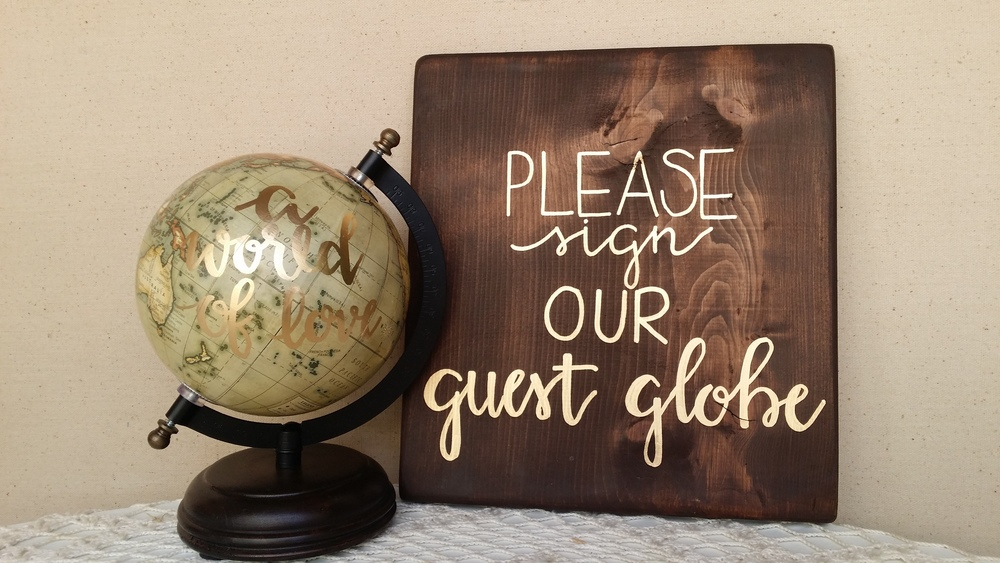 wedding guest book alterntative, guest book globe