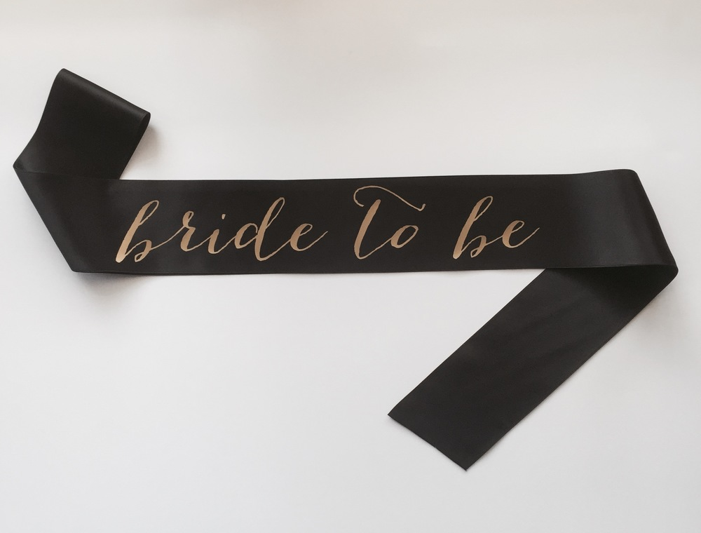 bride to be gold and black sash