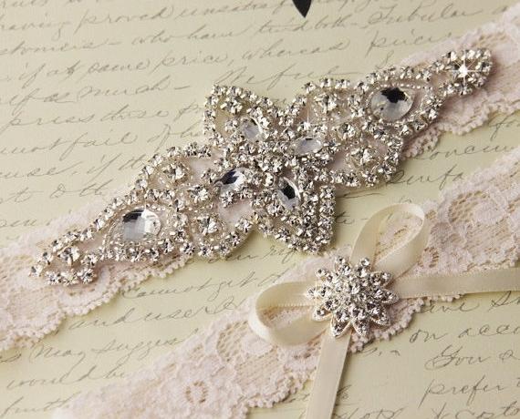 15% OFF Ivory Lace Garter Set, Wedding Garter, Bridal Garter set, Rhinestone Garter, Ivory Garter, Crystal Garter.jpg