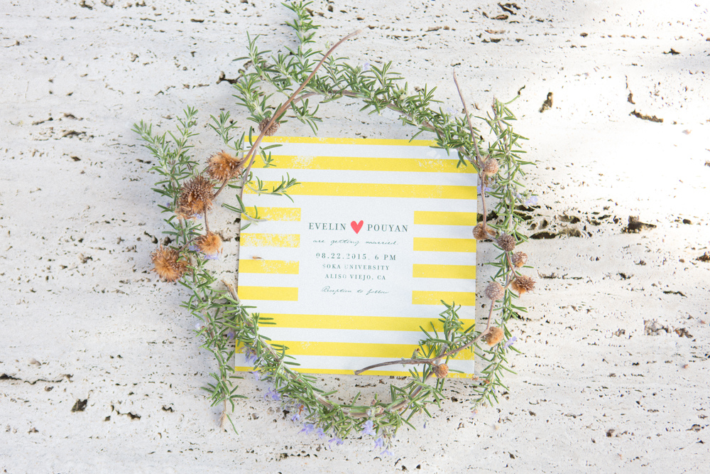 soft yellow wedding invitations // traditional persian wedding ceremony