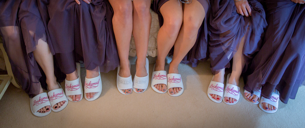 bridesmaid getting ready robes + slippers // white wedding shoes // Rocksalt Photography