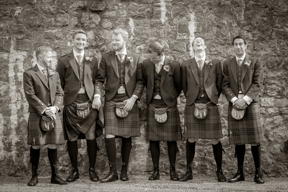 wales, UK groom groomsmen wedding attire // castle wedding // Rocksalt Photography