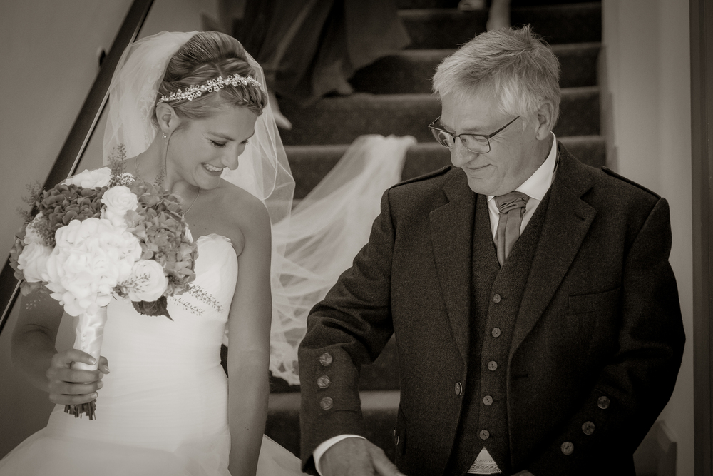 bride and father of the bride // castle wedding venue Wales UK // Rocksalt Photography