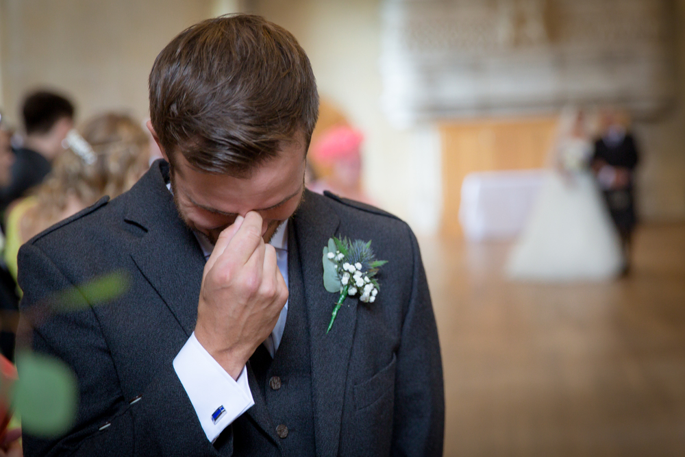 groom reaction seeing bride // castle wedding venue Wales UK // Rocksalt Photography