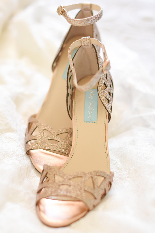 gold betsy johnson bridal heels // macy marie photography wedding