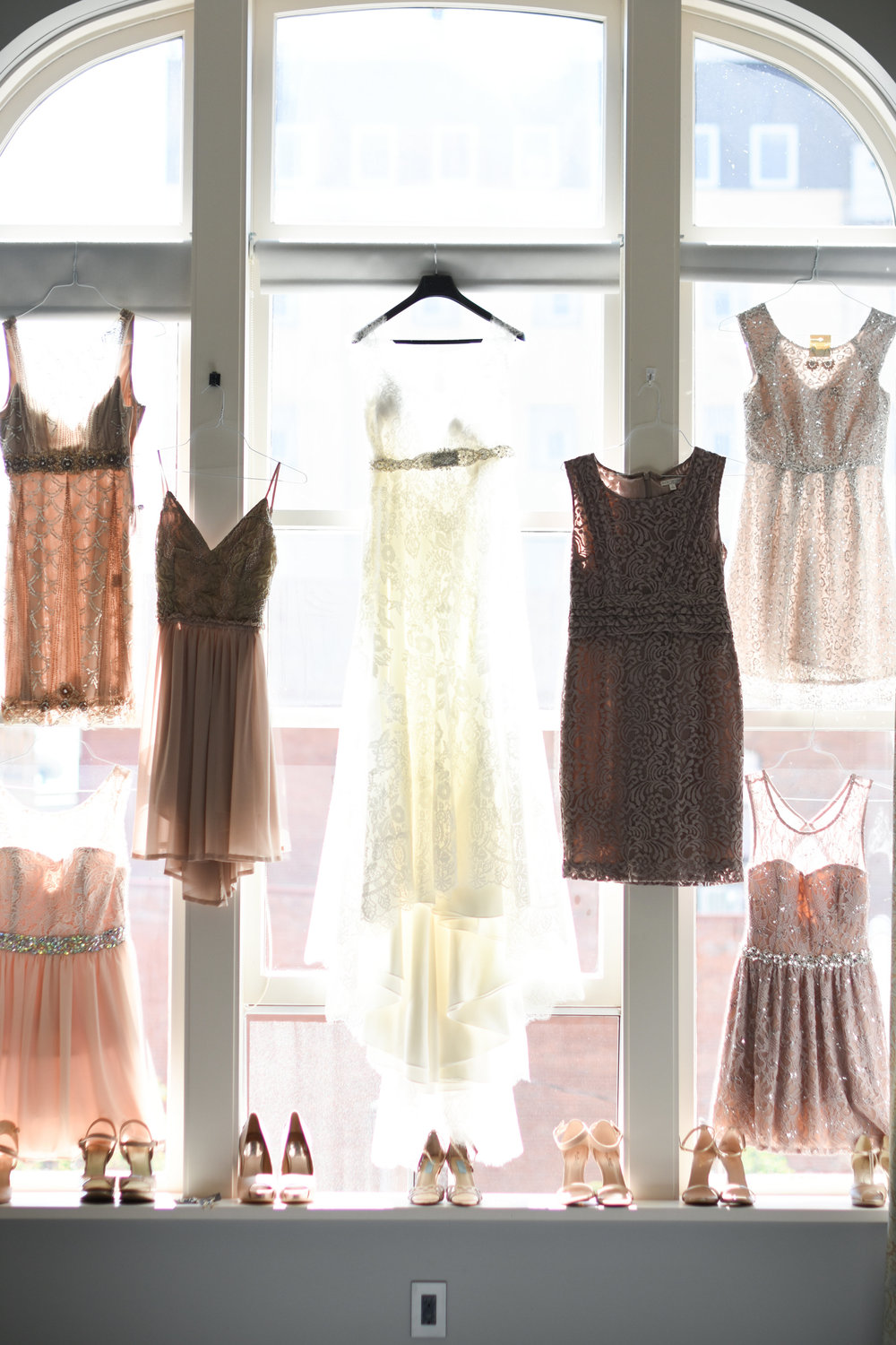 blush mix and match bridesmaid dresses // macy marie photography wedding