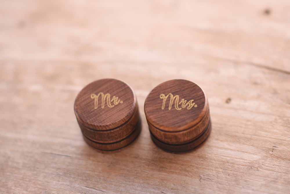 bride and groom wooden ring bearer boxes // macy marie photography wedding