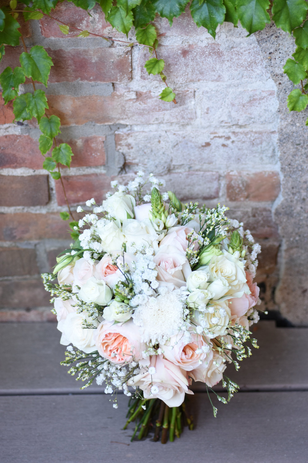 blush and white tons bridal bouquet // macy marie photography wedding