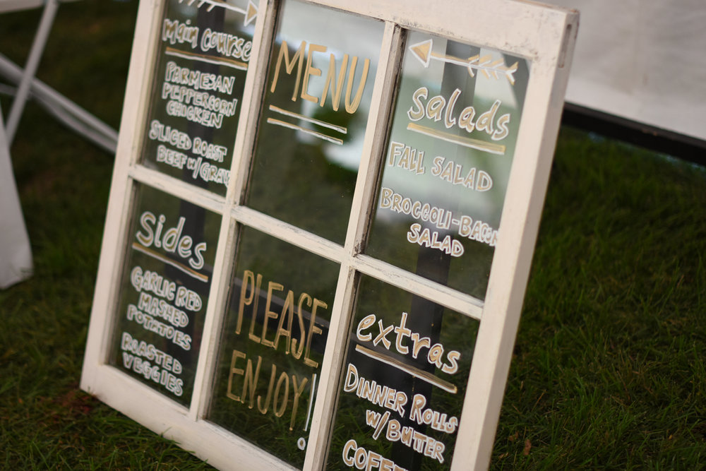 vintage window pane wedding menu decor // macy marie photography wedding