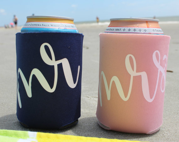 mr and mrs beer koozies honeymoon must haves