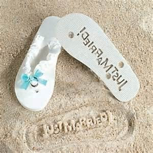 just married honeymoon flip flops