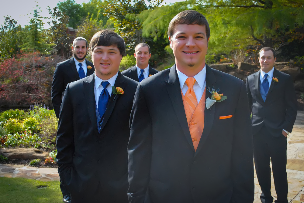 guthrie oklahoma wedding venue - dominion house - orange groom attire