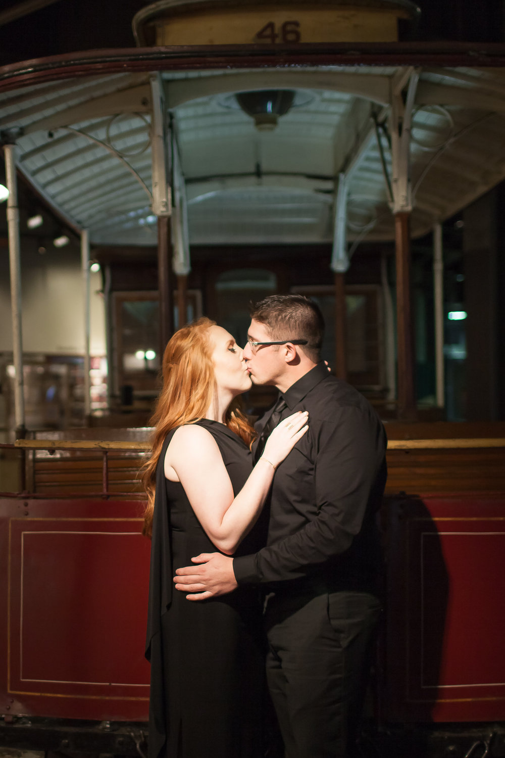 golden date park engagement photos, san francisco cable car museum engagement shoot