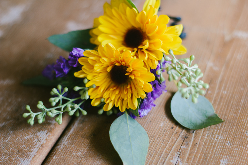 rustic sunflower boutonnniere - rustic intimate oklahoma wedding at Darlington Chapel