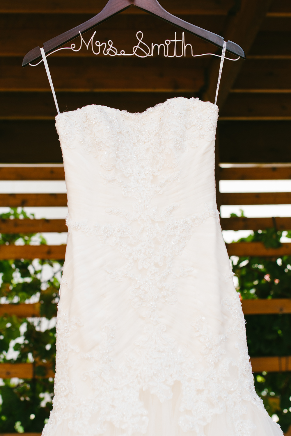 customized bride hanger - rustic intimate oklahoma wedding at Darlington Chapel