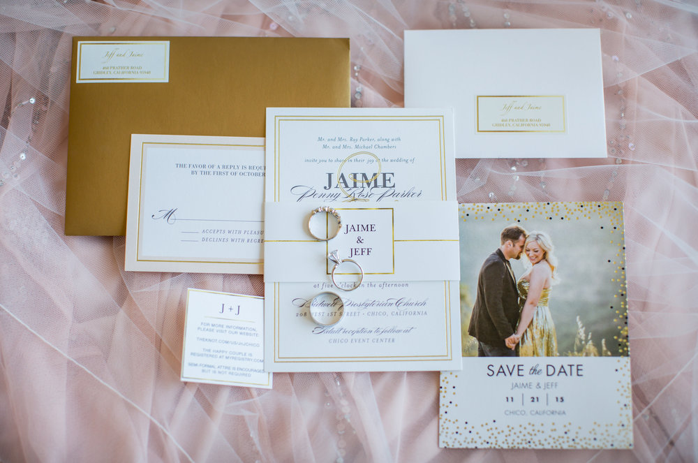 blush and white wedding invitation suite - A Diamond Hotel Penthouse Wedding by Katelyn Owens Photography
