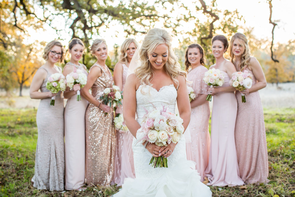 blush bridesmaid dresses- A Chico Event Center Wedding by Katelyn Owens Photography