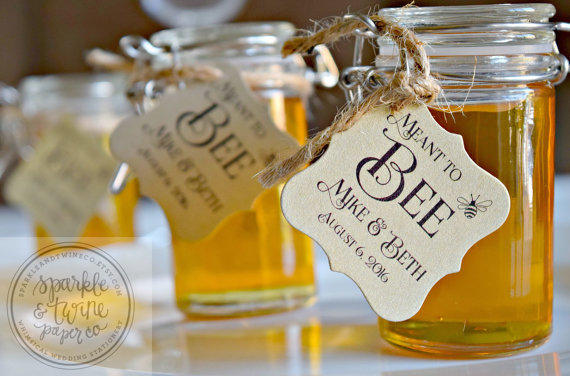 wedding favor ideas - Meant to Bee Tags, Honey Favor Tags, Bride to Bee Tags, Wedding Favor Tags, Bridal Shower Tags, Love is Sweet Tags - Set of 20