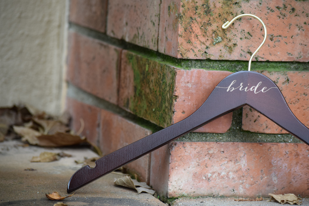 Wooden Engraved Bridesmaid Hangers by Black Label Decor