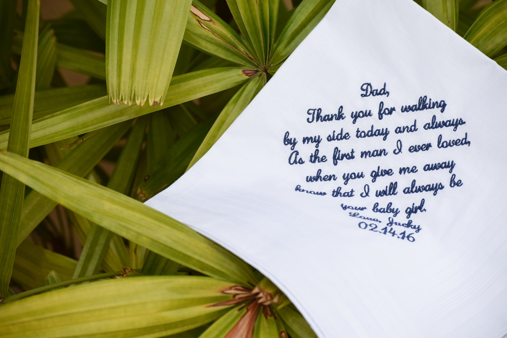 Father of the Bride Wedding Gift Handkerchief by Inspired Stitches