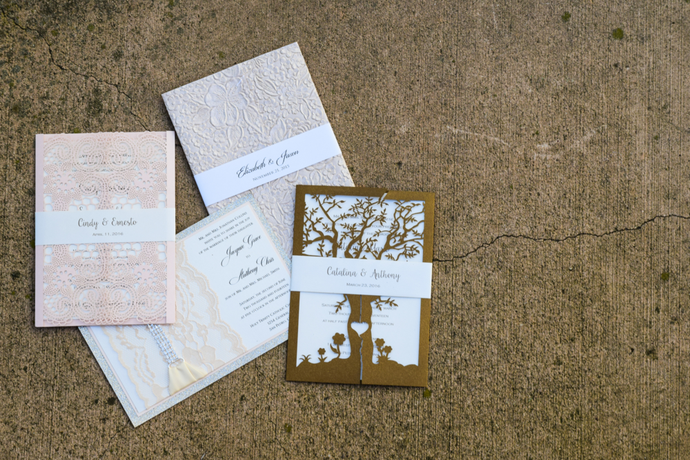 Gold Glitter + Lace Wedding Invitation by Lavender Paperie
