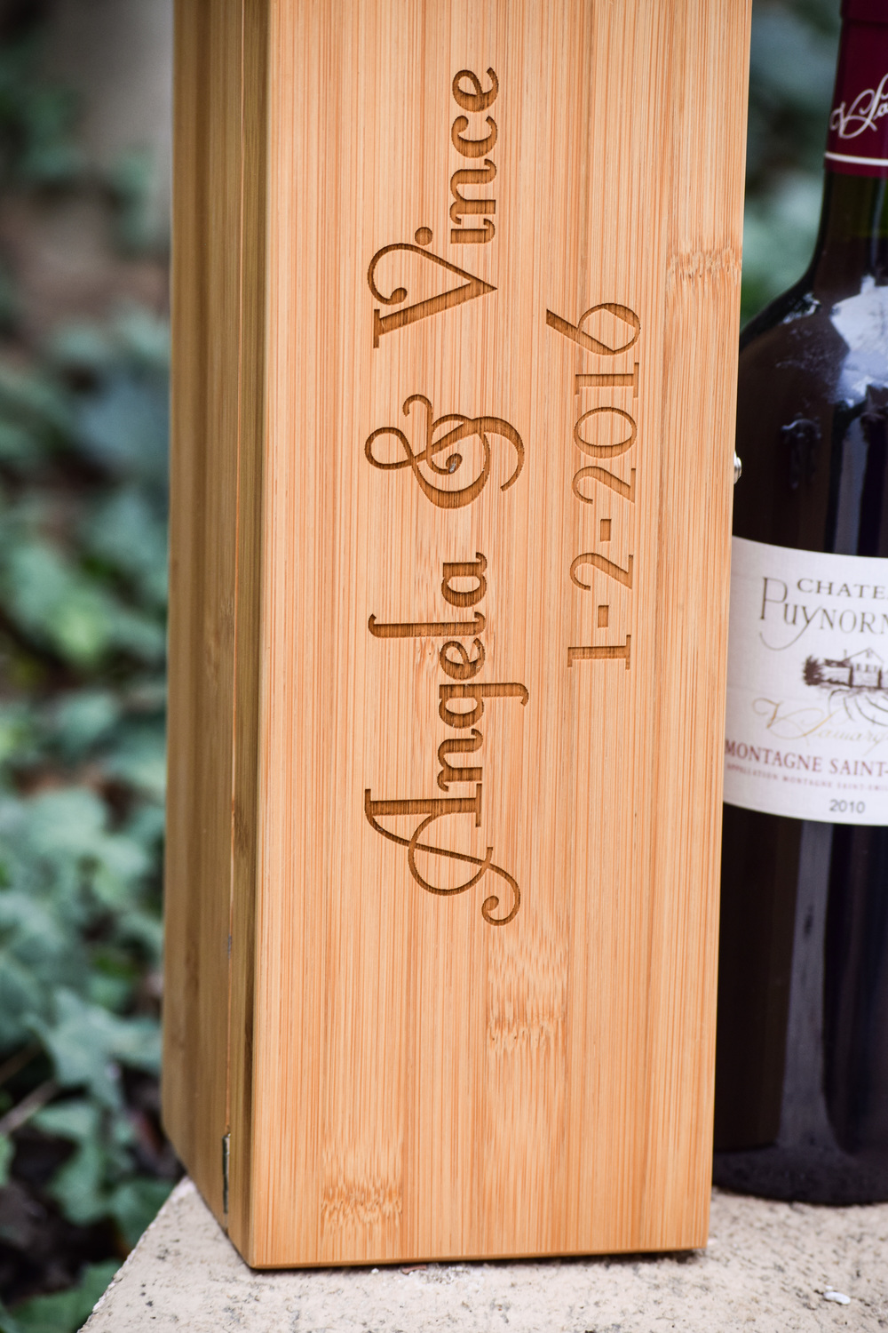 Personalized Wooden Wedding Ceremony Wine Box by Blue Fire Engraving