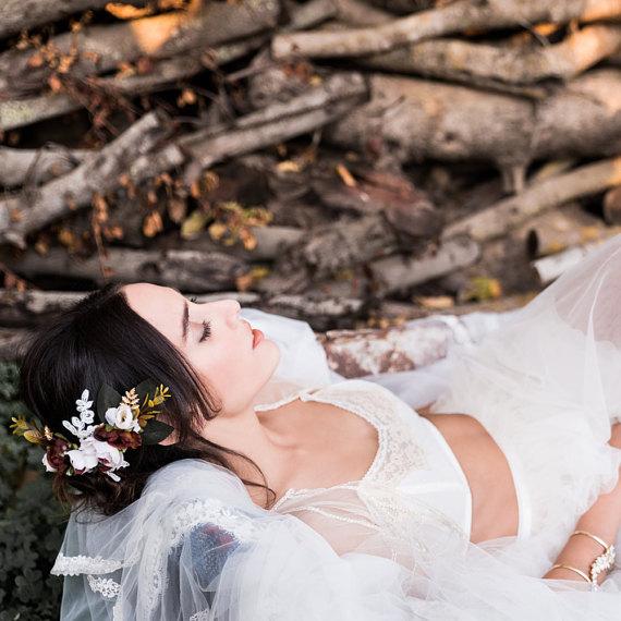 boho bride floral hair piece