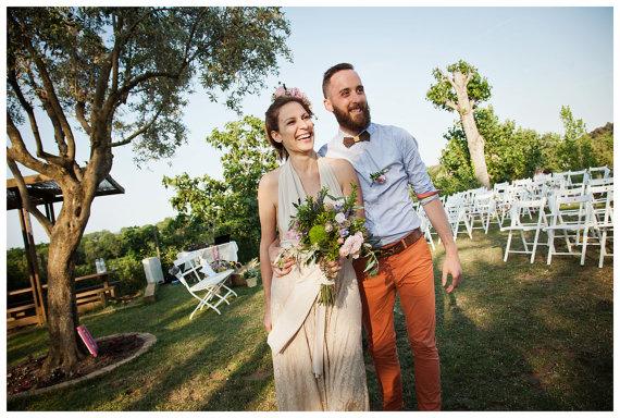boho bride champagne wedding dress