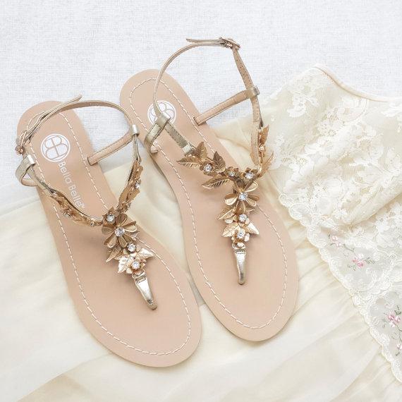 gold bohemian wedding sandals
