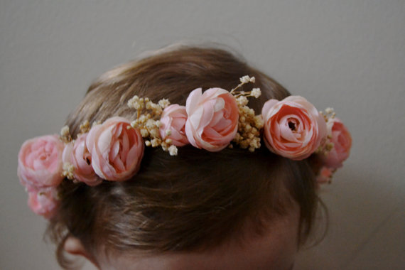 pink blush bohemian flower crown wedding