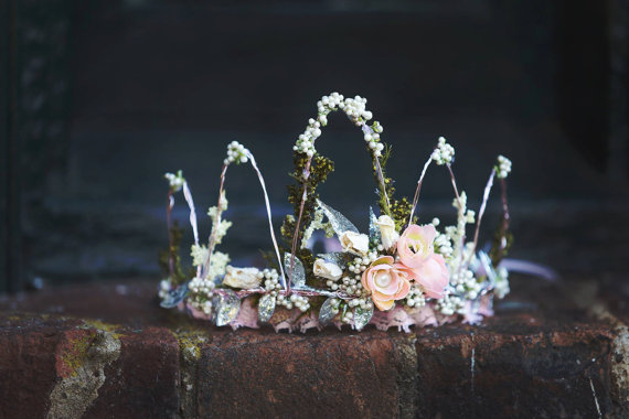 Flower Crown - Wire Crown - Fairy Crown - Flowergirl hairpiece - Summer Wedding - Newborn Photo Prop - Wedding Crown - Floral Hairpiece