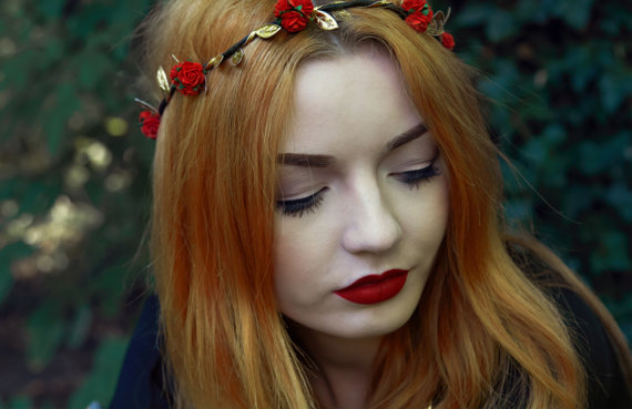Red Rose Flower Crown, Red Flower Crown, Festival Crown, Festival Garland, Rose Crown, Festival Flower Crown,