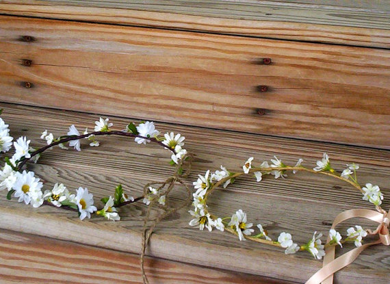 Country Bride Headwreath Daisy Flower crown Wedding bridal Hair wreath accessories Wildflower Hairpiece Hippie costume headband girl halo