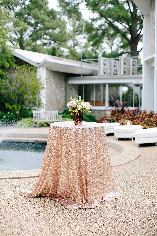 sequin rose gold wedding linen - davids bridal