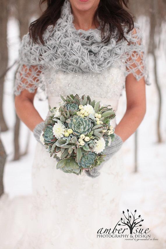 grey winter bridal shawl