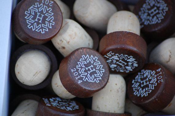 winter wedding favors - wooden wine stopper