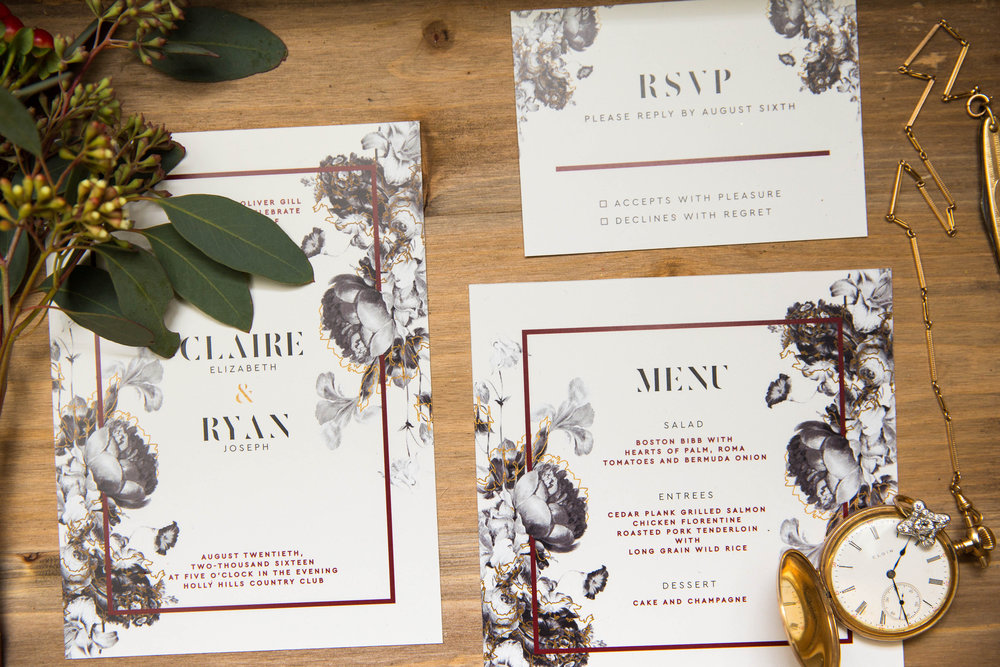 Unique Wedding Invitation Suite | Modern Hollywood Glam Wedding by Pearly Kate Photography