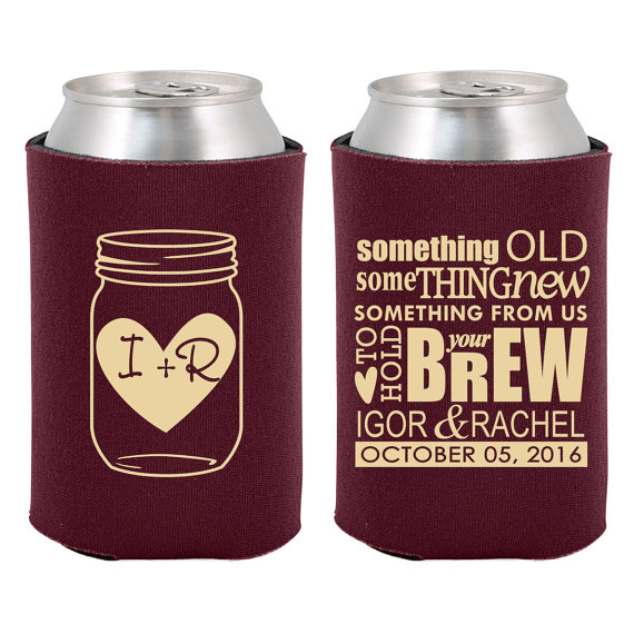 unique wedding favor ideas - custom beer koozie wedding favors