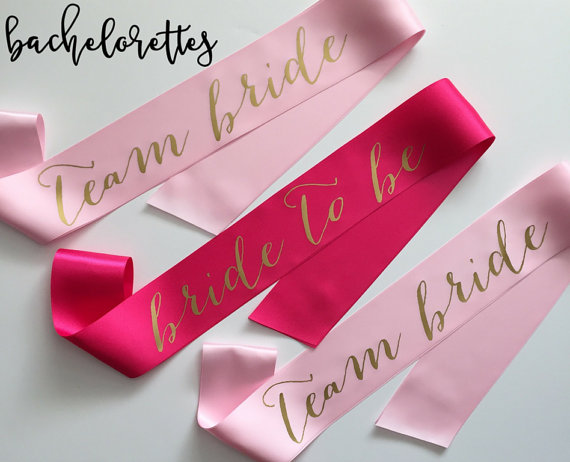 bachelorette party ideas - team bride sash - bride to be sash