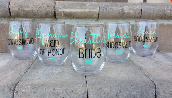 bachelorette party ideas - personalized bridesmaid wine glasses