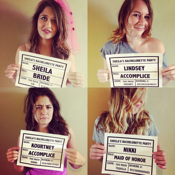 bachelorette party ideas - bachelorette party mug shot sign