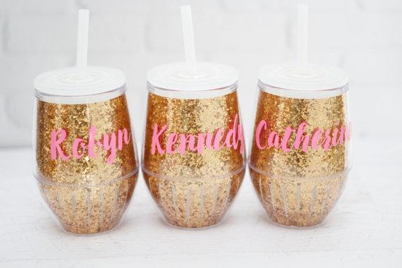 bachelorette party ideas - personalized bridesmaid tumblers