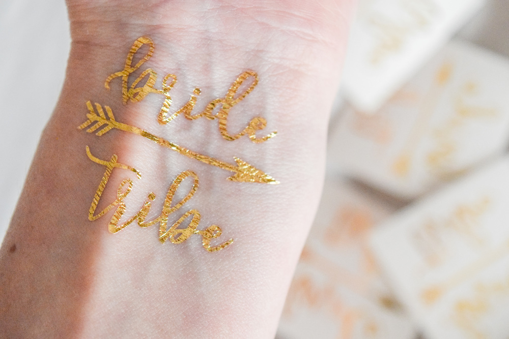 bachelorette party gold tattoos - bride tribe tattoos