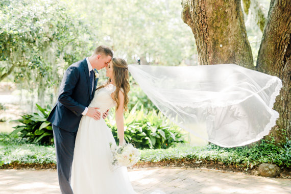 inexpensive cathedral length bridal veil with lace