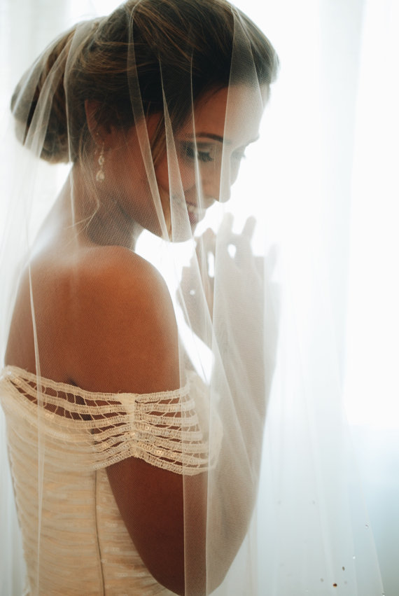 inexpensive soft drop cathedral length veil