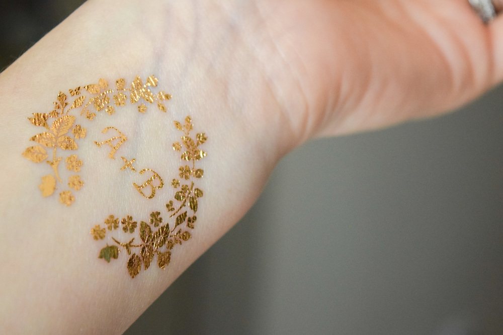 The bridal boutique gold foil customizable tattoos by for Gold foil tattoo