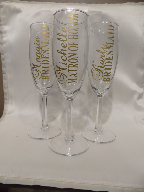 Custom Bridal Party Champagne Glasses