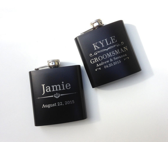Black Engraved Groomsman Flask